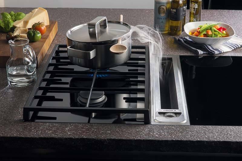 Designer-Kochfeld von Bora, Gas, mit integriertem Dampfabzug, Dampf wird nach unten abgezogen