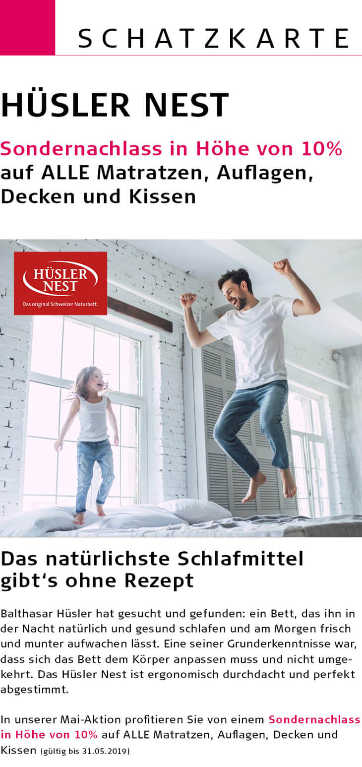 Schatz Aktionen - Hüsler Nest Sonderrabatt